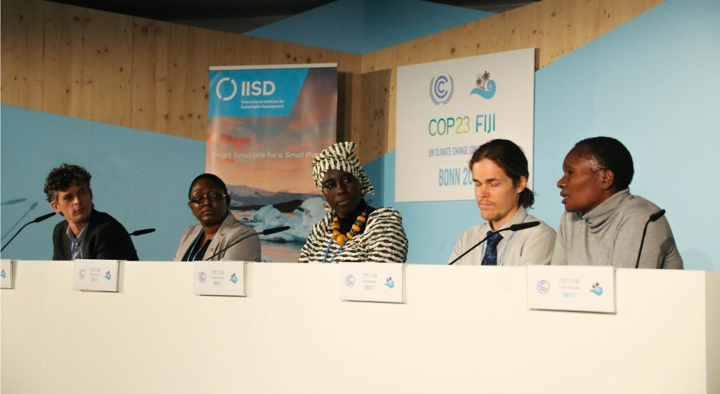 Panelists a a side event on gender equality and climate change action co-hosted by the Government of Grenada and the International Institute for Sustainable Development at COP23.
