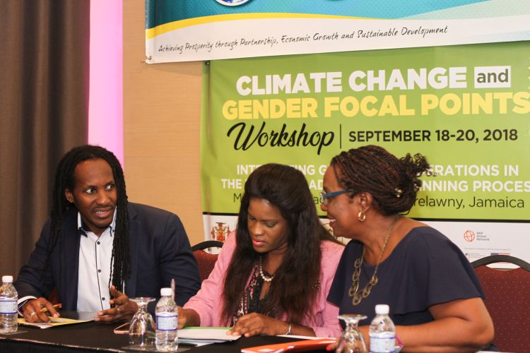 Hon. Alando Terrelonge (left), Minister of State in the Ministry of Culture, Gender, Entertainment and Sport, speaks with DirectorGeneral in the Ministry of Economic Growth and Job Creation, Dr. Sharon Crooks,and Principal Director for Jamaica's Climate Change Division, Una May Gordon, at the start of a three-day Climate Change and Gender Focal Points Workshop.