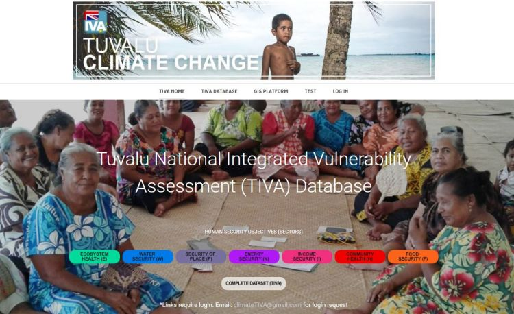 Screenshot of Tuvalu National Integrated Vulnerability Assessment (TIVA) website