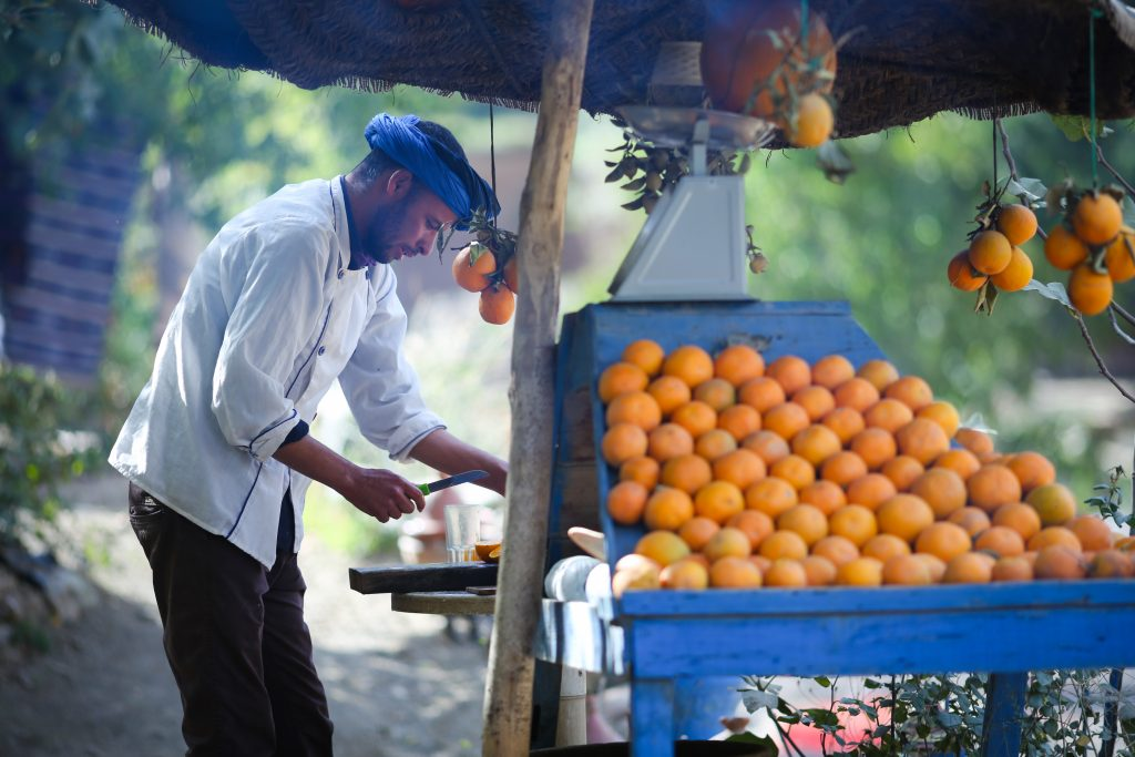 Marrakesh, Morocco - October 4, 2018: Fresh juice stall - vendor is chopping oranges and preparing to squeeze juice from local nearby grown oranges