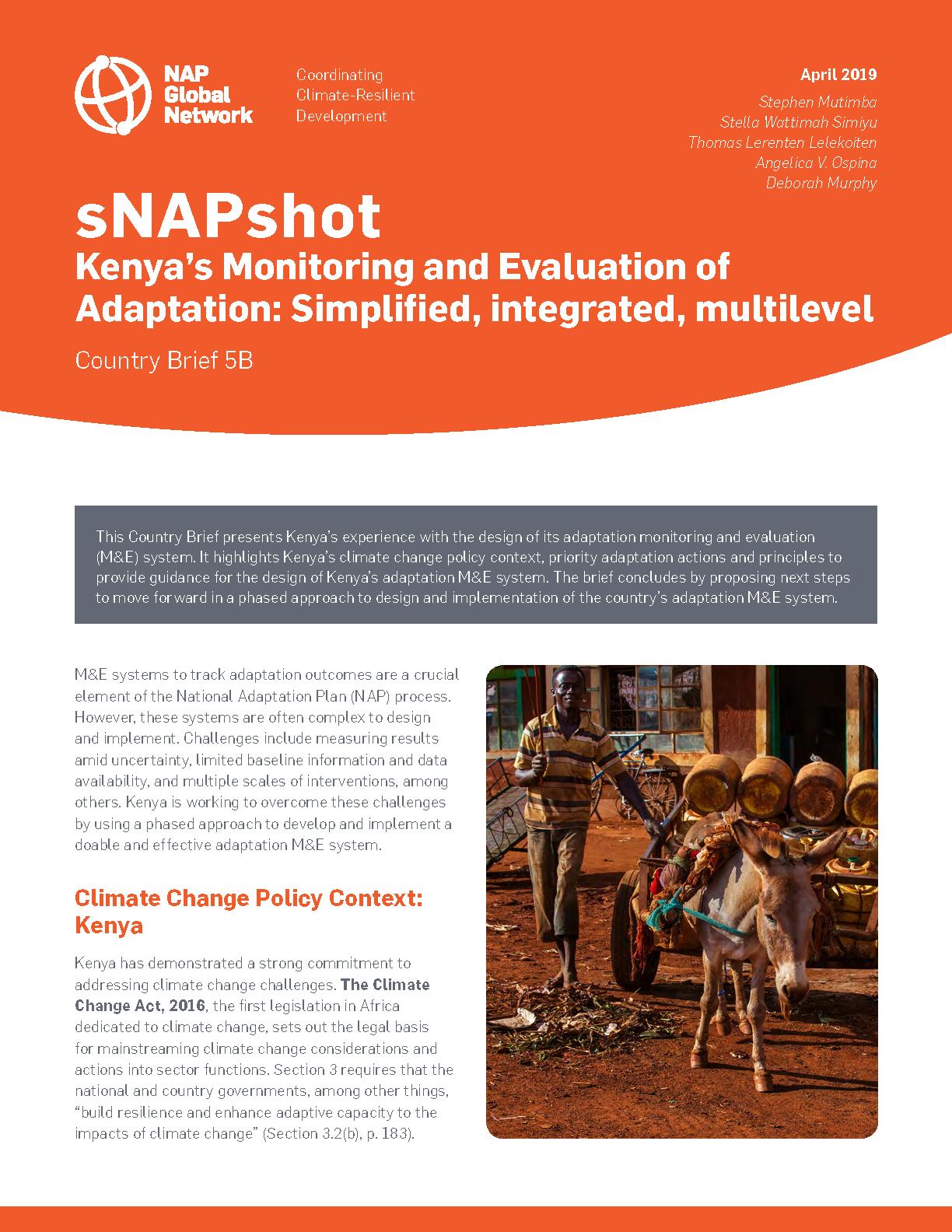 Snapshot Kenya S Monitoring And Evaluation Of Adaptation Simplified Integrated Multilevel Nap Global Network