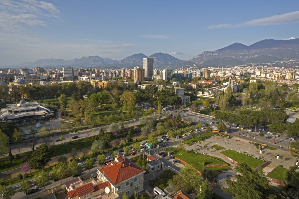 Tirana City View from Sky Tower