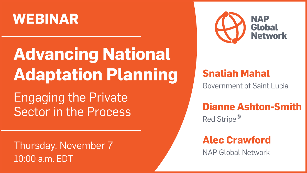 Social media card to promote the webinar Advancing National Adaptation Planning: Engaging the Private Sector in the Process