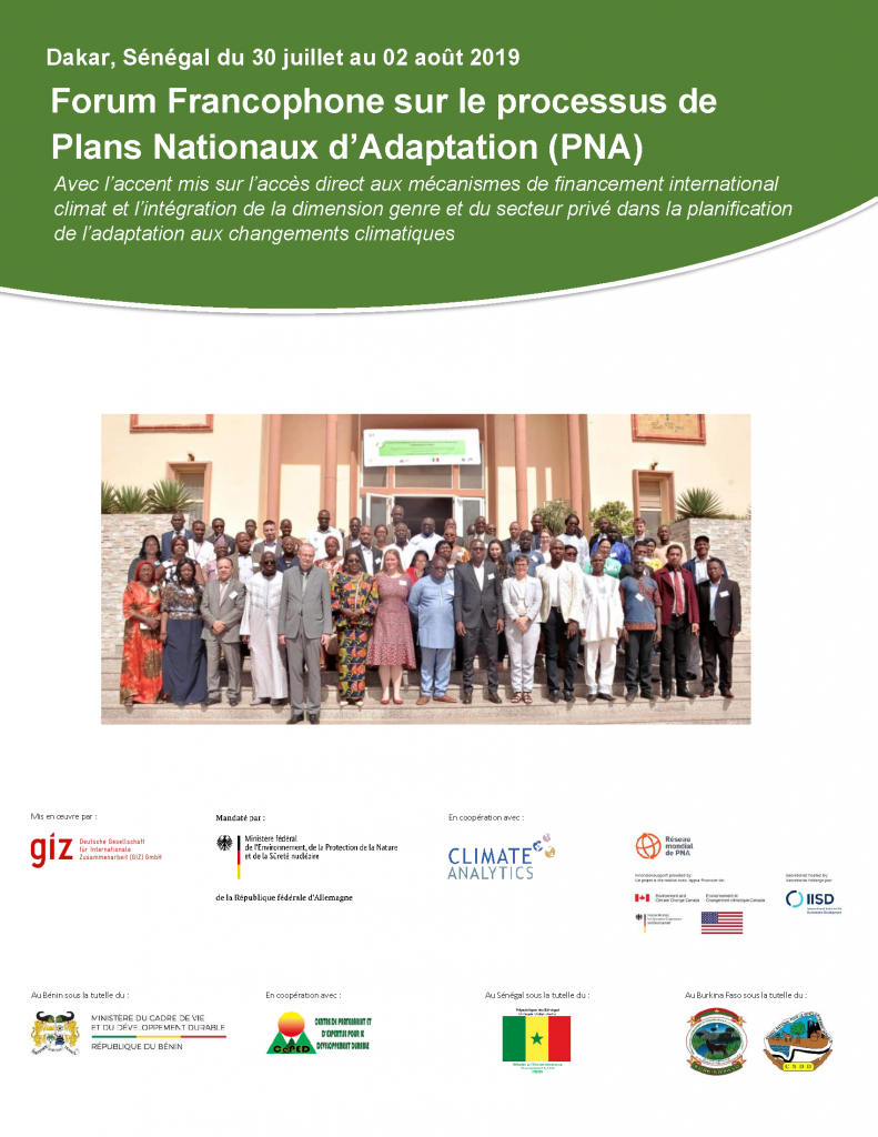 Report cover of the Second Francophone Forum on the National Adaptation Plan (NAP) Processes
