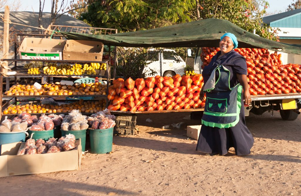 African woman street vendor in Botswana