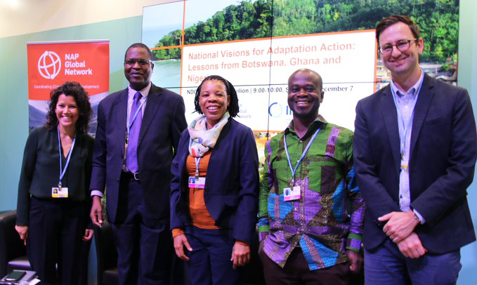 (L-R) Anne Hammill, director of the NAP Global Network Secretariat; Dr. Peter Tarfa, Nigeria's Department of Climate Change; Janet Selato, Botswana's Department of Meteorological Services; Dr. Antwi-Boasiako Amoah, Ghana's Environmental Protection Agency; and Alec Crawford, NAP Global Network.