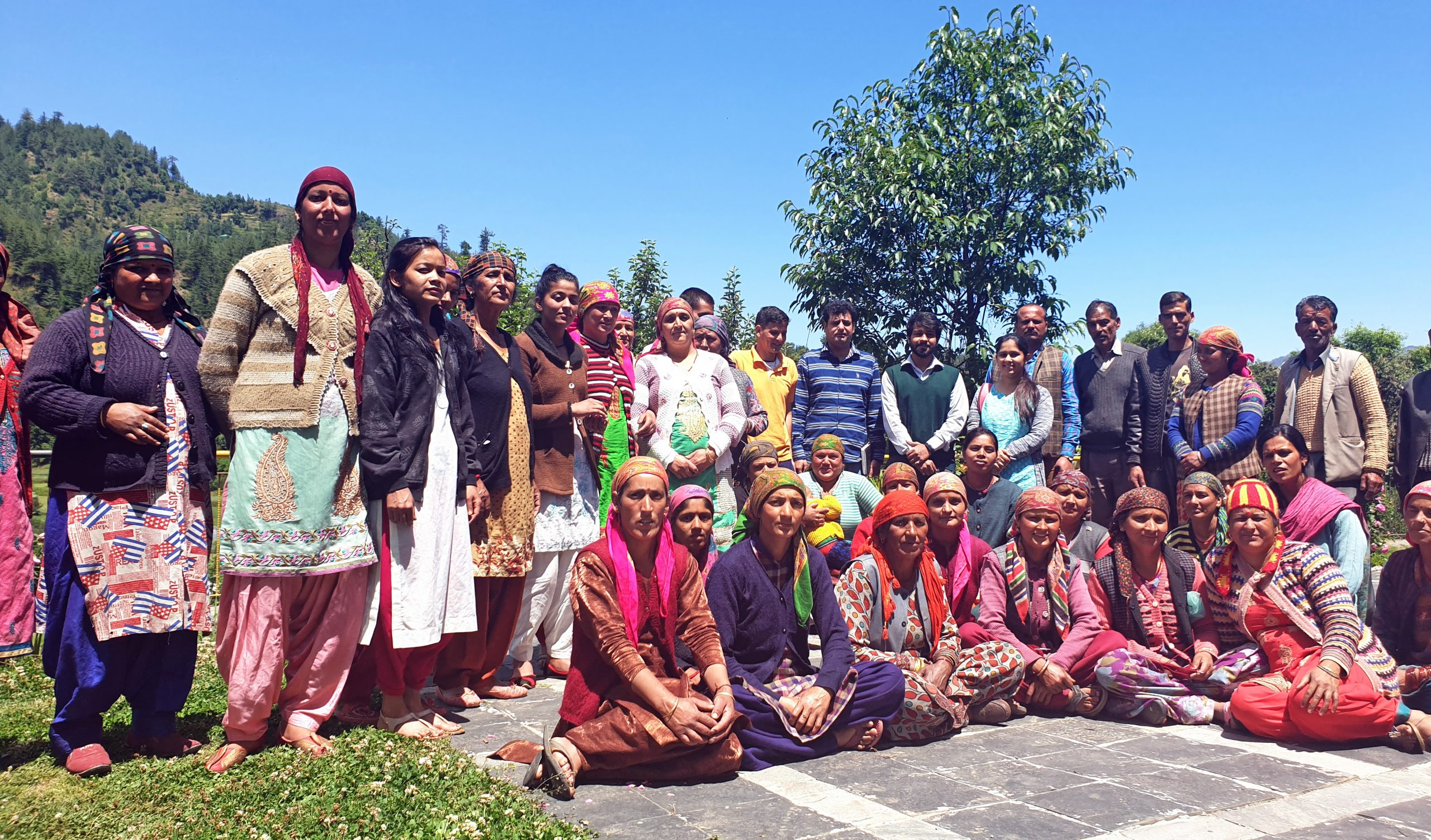 Group of farmers and villagers in India supported by the government.