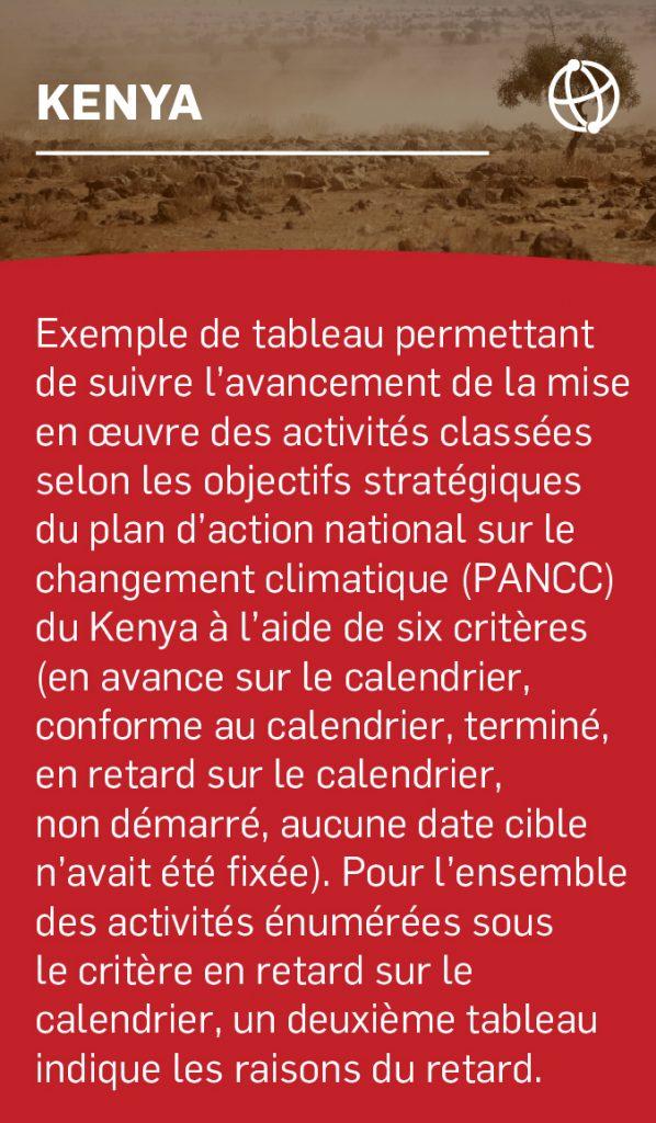 Exemple de tableau permettant de suivre l'avancement de la mise en œuvre des activités classées selon les objectifs stratégiques du plan d'action national sur le changement climatique (PANCC) du Kenya à l'aide de six critères (en avance sur le calendrier, conforme au calendrier, terminé, en retard sur le calendrier, non démarré, aucune date cible n'avait été fixée). Pour l'ensemble des activités énumérées sous le critère en retard sur le calendrier, un deuxième tableau indique les raisons du retard.