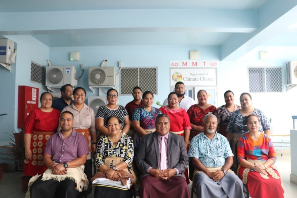 Pictured sitting in the middle is the ministry of Meidecc CEO Paula Ma'u and the Director of the Department of Climate Change to the far right, Ms. Luisa Tuiafitu with Tonga Media Association President Remanlal Vallabh from Tonga's Radio Nuku'alofa 88.6. on the far left.